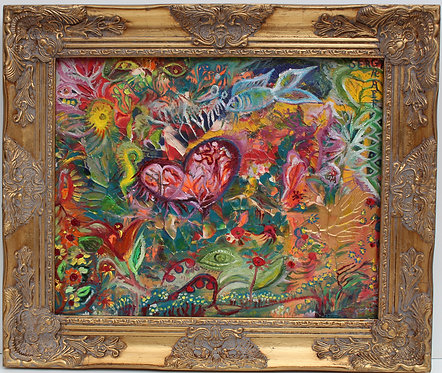 """Oil Painting on Canvas, Abstract """"HeartBeat"""" Signed Serg Graff,COA, Gilt Frame"""