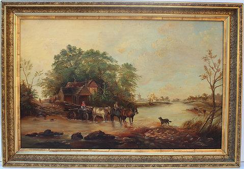 Large Antique 19 c. oil painting on canvas, rural landscape, unsigned, framed