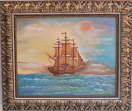 Original oil painting on canvas, seascape, ship, sunset, signed S.Graff, COA