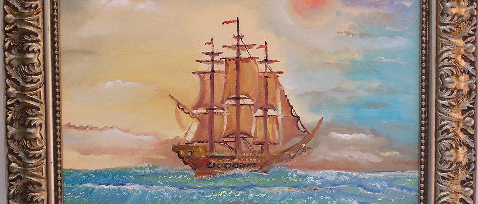 Original oil painting on canvas, seascape, ship, sunset, signed S.Graff, COA