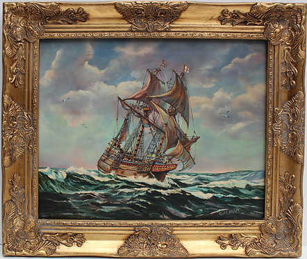 Vintage Oil painting on canvas, seascape, Sailing Ship ,Signed Galasso, framed