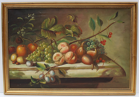 Vintage Still Life oil painting on canvas, Fruits, Framed, Signed