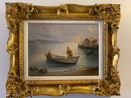 American Artist Earl Collins (1925-1992) Oil painting on canvas, Fishing