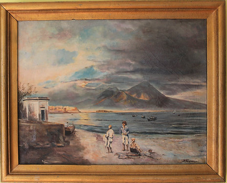 Antique Original Oil Painting on canvas seascape, Harbor scene, Signed, Framed