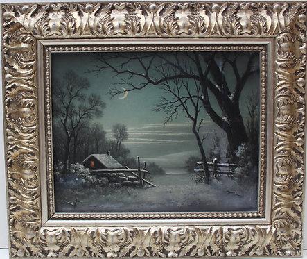 Antique 19c. Original Oil Painting on canvas, Rural Landscape, unsigned, framed