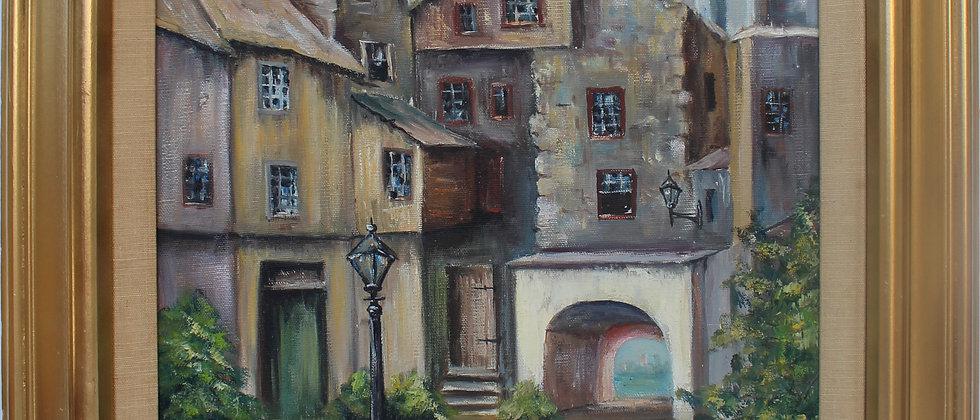 Cecille E.Smail vintage oil painting on canvas, cityscape, Edinburgh, Scotland.