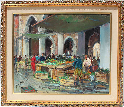 Listed Italian Artist Gino Salviati (1911-1998) oil on canvas, Venice, Rialto
