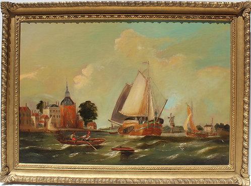 Antique 19 century oil painting on canvas, seascape, Dutch harbor, framed