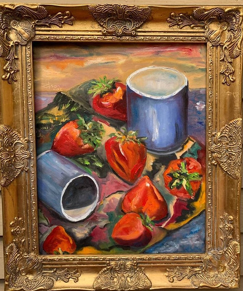 Vintage Still Life oil painting on canvas, Fruits, Signed, Framed, Dated