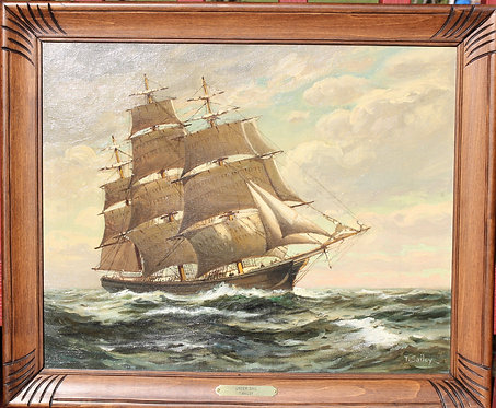 Antique T BAILEY Original Oil Painting on canvas Ship on the Ocean Framed