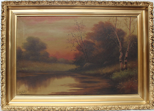 Antique T BAILEY Original Oil Painting on canvas Landscape, signed, framed