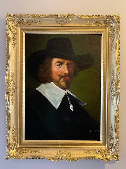 Vintage oil painting on canvas, portrait of a Gentleman with hat, signed, framed