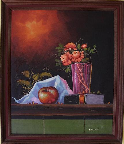 Vintage Original Oil Painting on Canvas Still Life Fruit Framed, Signed