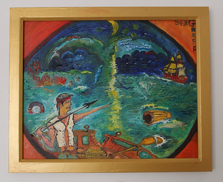 Original oil painting on canvas, Moby Dick Art, signed S.Graff, COA