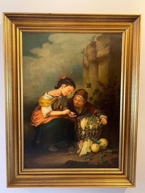 Danish Antique oil painting on canvas, Two women with basket of grapes, Signed