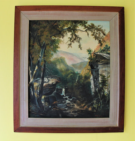 Original Oil Painting on canvas Landscape, Mountains, waterfall, Signed, Framed