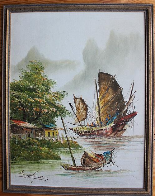 Vintage Chinese Junk Boat, Hong Kong Harbor, Original, Signed L.LAM