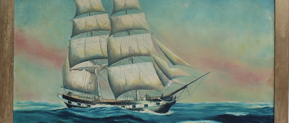 "Large Vintage oil painting on canvas The Brig ""Grand Turk"" signed J.Reynolds""36"