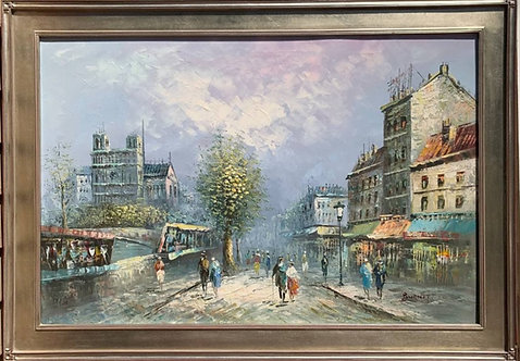 Large Listed Artist C.Burnett(IX-XX) oil painting on canvas Paris, Notre Dame