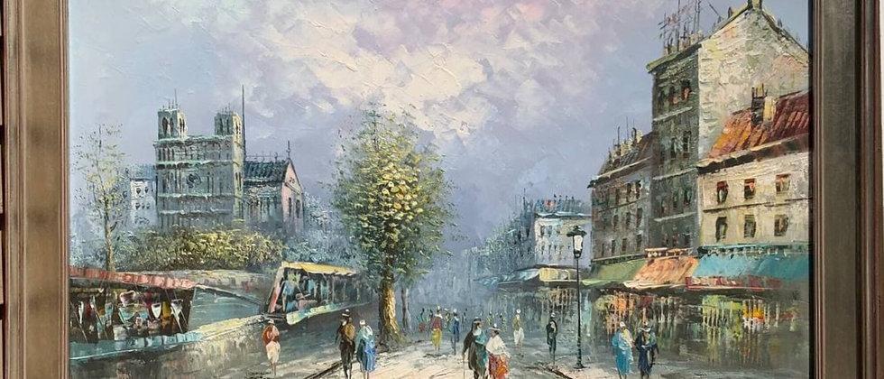 Large Listed Artist C.Burnett(IX-XX) oil painting on canvas Paris, Notre Dame