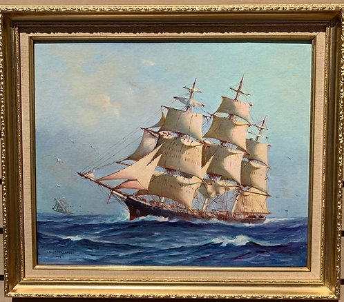 Humberto da Silva Fernandes(1937-2005) Clipper Ship Oil Painting on board, Dated