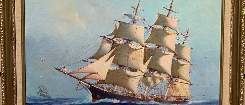 Humberto da Silva Fernandes(1937-2005) Clipper Ship Oil Painting on board, Dated