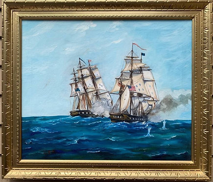 Vintage Oil painting on canvas, SHIPS BATTLE AT SEA, Signed, Dated, Framed