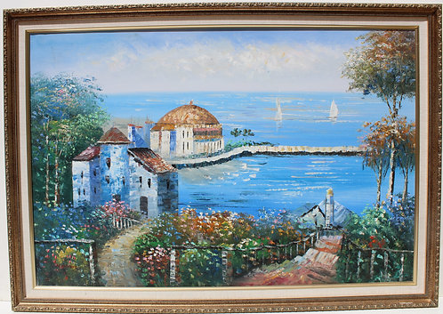 Large oil painting on canvas, Seascape, Coastal view, Cityscape, framed