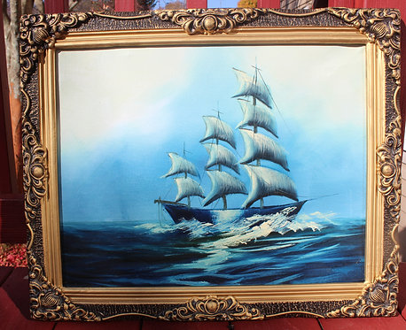 Original  oil painting on canvas, seascape, Sailing ship on the high seas