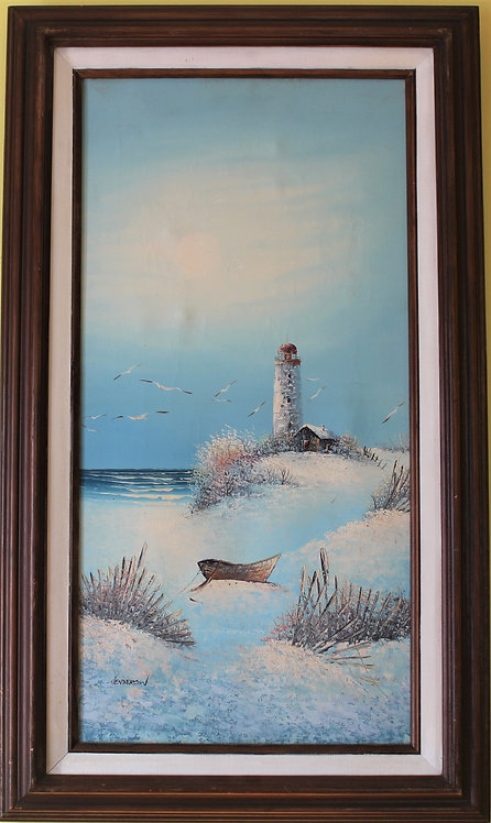 Original  oil painting, seascape, Lighthose, signed Henderson, Framed