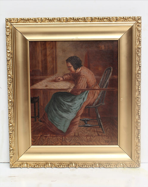 19 century Antique original Oil Painting on canvas, Female portrait, signed