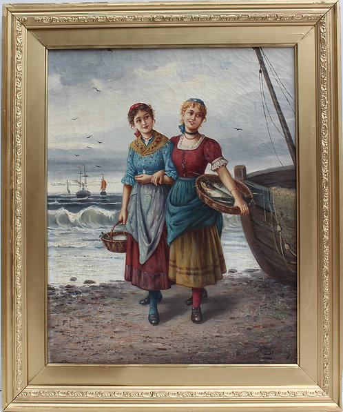Antique 19 century Original Oil Painting on Canvas, signed C.Brisson, French