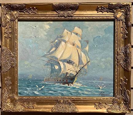 Humberto da Silva Fernandes(1937-2005)Clipper Ship, Oil Painting on Board, Dated