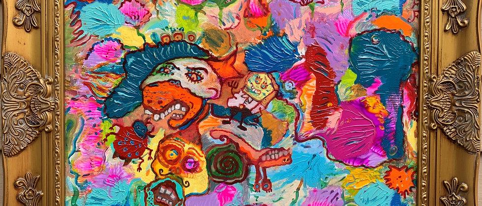 "Original Abstract Painting on Canvas by Serg Graff ""Bikini Bottom"" COA, framed"
