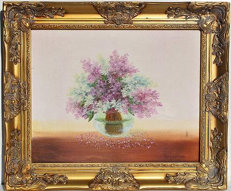 Vintage oil painting on canvas, Still Life, Lilac, Signed Grebennikov, Framed