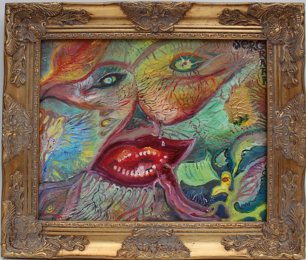 Oil Painting on Canvas, Fantasy Abstract style, S.Graff, COA, Gilt Frame