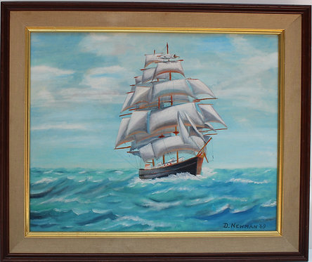 Vintage 1969 oil painting on board, seascape,Sailing ships on the Sea, D.Newman