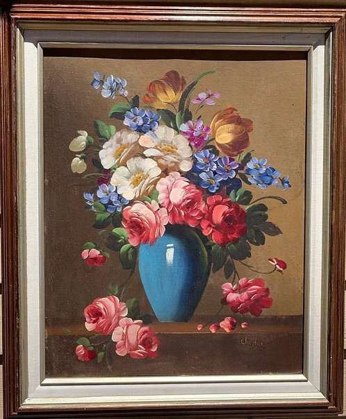 Original Vintage Oil Painting On Canvas, Still life, flowers, signed, framed