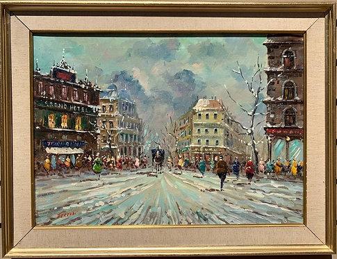 Vintage oil painting on canvas, cityscape, Paris, signed Ferrari, framed