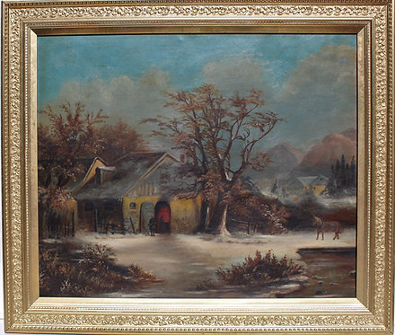 Antique Oil Painting on canvas, genre rural scene, unsigned, framed
