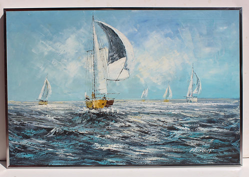Large Vintage Framed Oil on Canvas, Seascape, Sail boats in the ocean, Signed