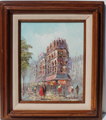 Vintage oil painting on Canvas, Cityscape, Paris street scene, Signed, Framed