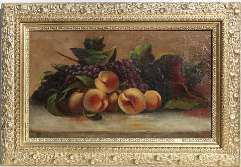 Antique1886 Still Life oil painting on canvas, Fruits, Framed, Signed, dated