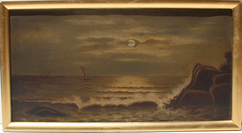 Antique oil painting on canvas, seascape