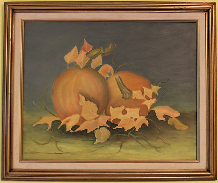 ORIGINAL VINTAGE  STILL LIFE OIL PAINTING ON CANVAS ON PANEL, PUMPKINS, SIGNED
