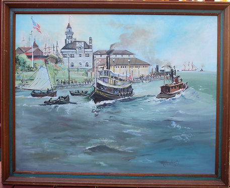 Original  oil painting on canvas, seascape,harbor, cityscape, Signed, dated 1977