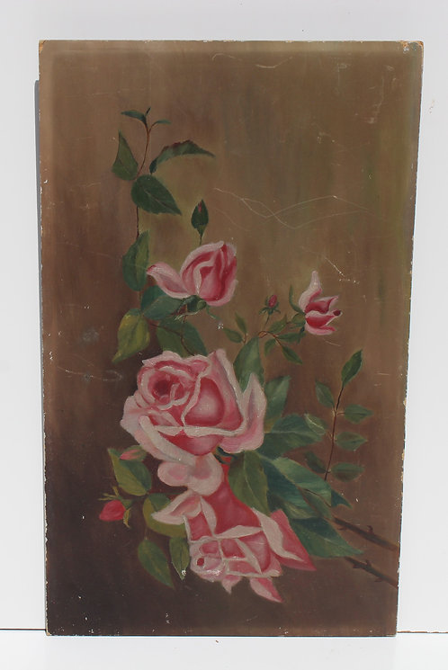 Antique 19 c. Original Oil Painting on board, Still Life, Roses, unsigned