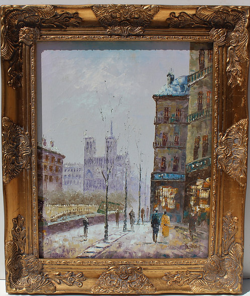 Listed Artist C.Burnett(IX-XX) oil painting on canvas Paris, Notre Dame, framed