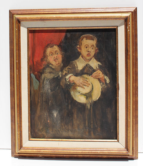 19 cent Antique oil painting on canvas depicting father and son, Signed, Framed