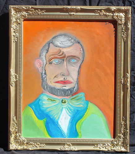 Oil painting on canvas, portrait of Abraham lincoln signed S.Graff, dated,COA